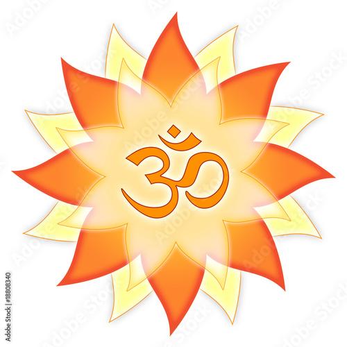 """Mandala Om-Symbol Aum Zeichen, rot orange gelb Blume"""" Stock photo ..."""