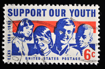 Vintage USA stamp used and franked - Support our youth
