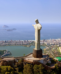 Aerial View of Christ the Redeemer Monument in Rio De Janeiro