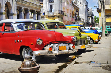 Photo on textile frame Old cars Colorful Havana cars
