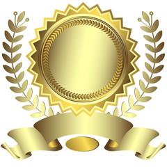Silvery award with ribbon (vector)