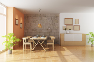 3d render a modern dining room