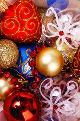 Close-up picture of splendid colorful Christmas toys