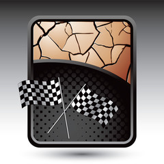 checkered flags bronze cracked backdrop