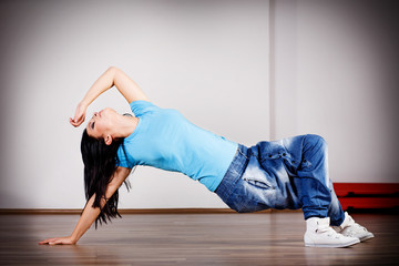 Woman dancing break dance