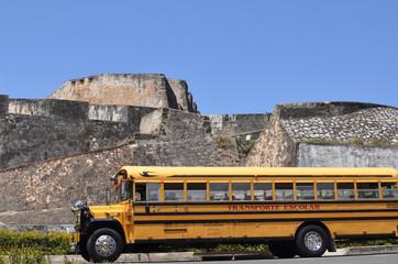 Yellow Bus near the Fort San-Felipe del Morro