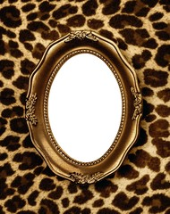 Golden frame on leopard skin background