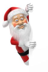 Cartoon Christmas Santa Claus peeks around the edge of the page.