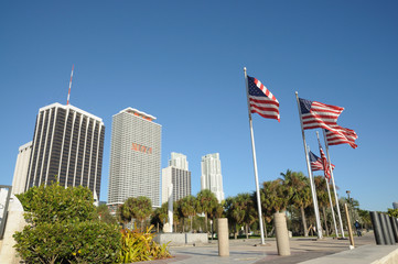 US Flags Downtown Miami, Florida USA