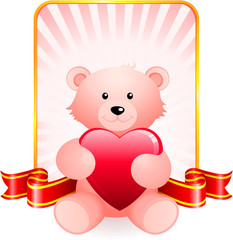 Teddy bear romantic Valentine's Day design background