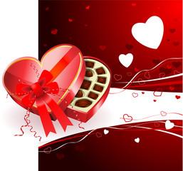 Dark Chocolate box Valentine's Day design background