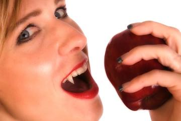 woman vampire eating apple