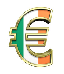 Gold Euro sign with Ireland flag isolated on white