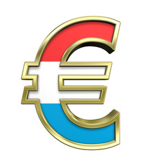 Gold Euro sign with Luxembourg flag isolated on white.