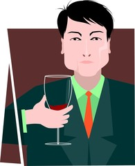 Illustration of a man with drinks in hand