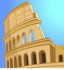Illustration of ruin coliseum