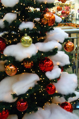Bulbs on the christmas tree in the shop