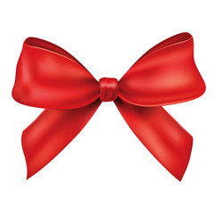 Realistic vector bow, ribbon.