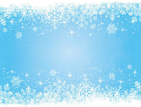 Blue Christmas background with stars and snowflakes