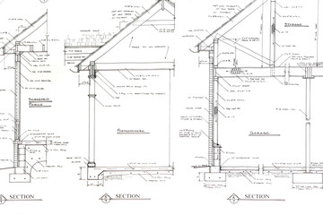 Sectional blueprint detail drawings