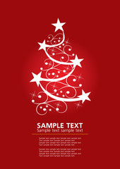 abstract christmas tree red background