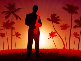 live saxophone performer on tropical red background