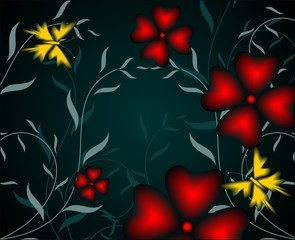 Illustration of butterfly arts in a black background
