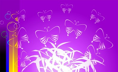 Illustration of art abstract with flower and butterfly
