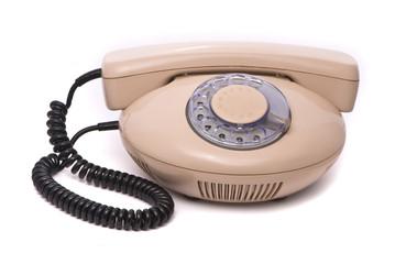 Old phone isolated on white background