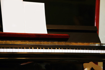 classic piano and empty notes for text or pic