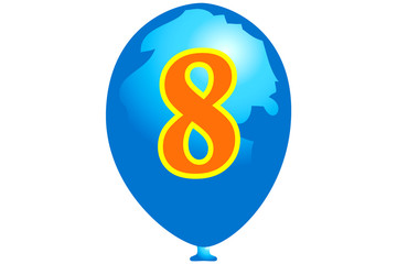 Blue numbered eight balloon