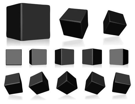 vector black 3d cubes