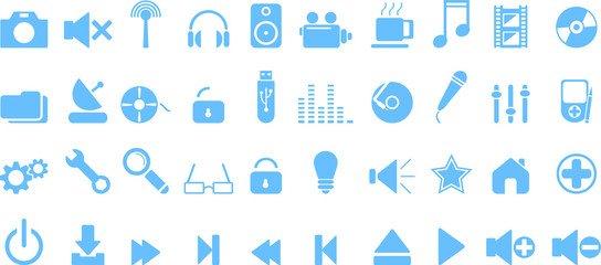 Blue media icons