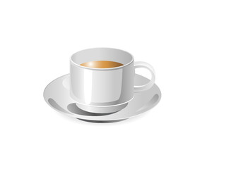cup of coffee with a dish isolated on a white background