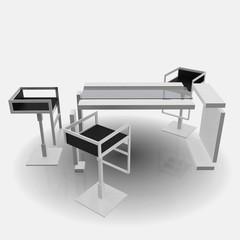 office, arbeit, büro, stuhl, sitzen, tisch, glas