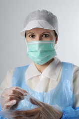 woman with plastic gloves