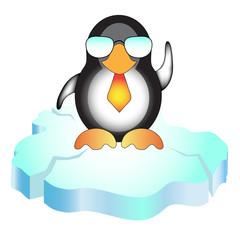 Cool penguin standing on ice block