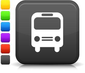 bus icon on square internet button