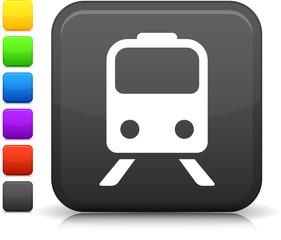 Train icon on square internet button