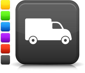 delivery truck icon on square internet button
