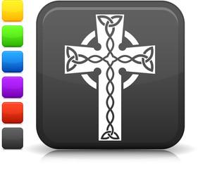 celtic cross icon on square internet button