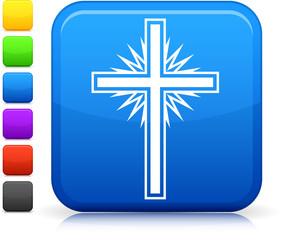 cross icon on square internet button