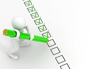 men with pen on questionnaire