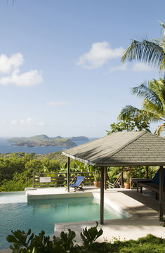 caribbean island villa pool with lovely view