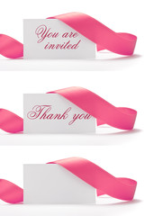 teenager party invitation, greeting card, pink ribbon on white