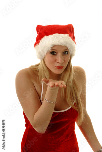 Jolie jeune blonde en cosutem de m re no l souflant des - Photo de mere noel a telecharger ...