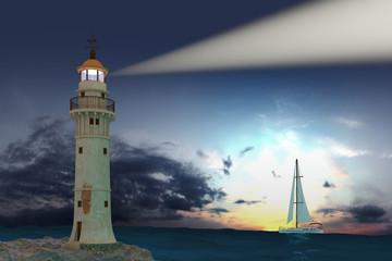 Lighthouse. Hi-res digitally generated image.