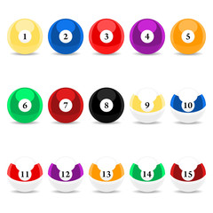 Complete set of pool balls over white background