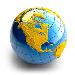 Globe of the Earth with relief continents on white background