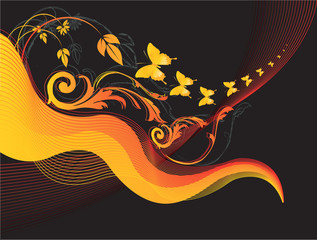 Floral designs with butterflies  flying in a line